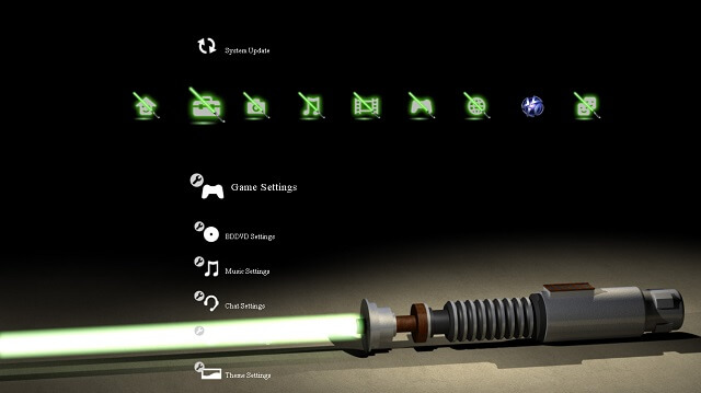 Free PS3 theme Star Wars Obi Wan Lightsaber booya gadget