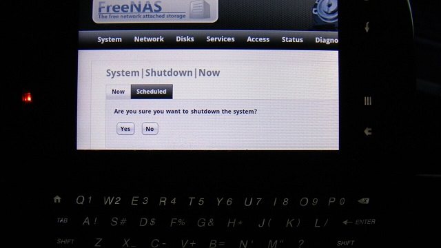 Freenas Android reboot web interface booya