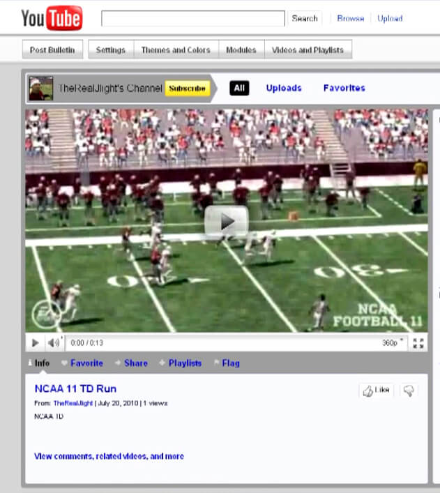 Upload your NCAA 11 EA Sports Highlights to Youtube