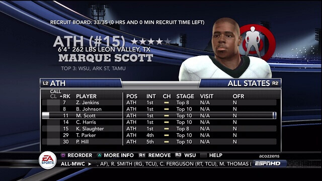 NCAA 11 Recruiting Tips Athletes List