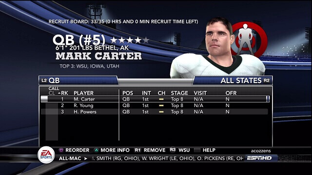 NCAA 11 Recruiting Tips Sort by Position