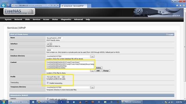 FreeNAS PS3 XBox Fuppes UPnP Settings