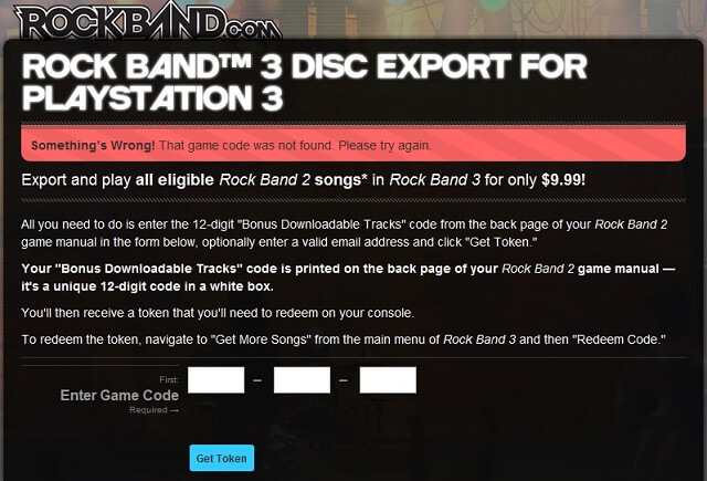 Rock Band 3 Import Rockband 2 EA Export Site Somethings Wrong