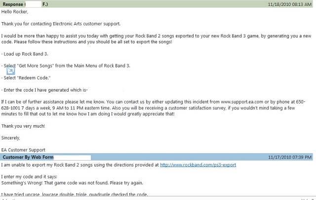 Rock Band 3 Import Rockband 2 SUPPORT.EA.COM Letter