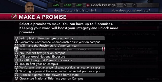 NCAA 11 Recruiting Bible Call Strategy Promises booya gadget