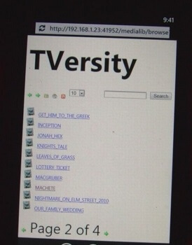 WP7 Tversity WHS 2011 Web Interface booya gadget