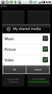 Droid 2 DLNA App Share select options booyagadget