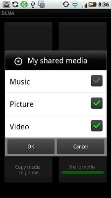 Droid 2 DLNA App Share select options booyagadget