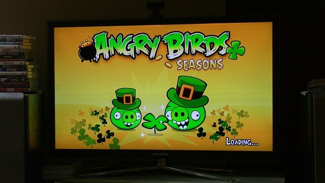 Angry Birds looks nice on 46 inches booya gadget