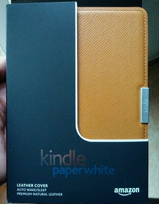 My Kindle Paperwhite Leather Case, fresh from the unbox.
